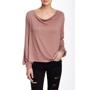 Free People Sparkle Cowl Neck Top Blouse M